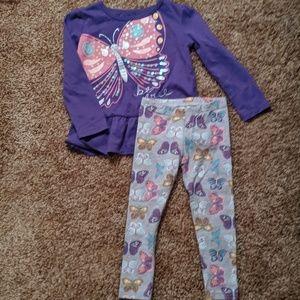 Purple butterfly two piece set